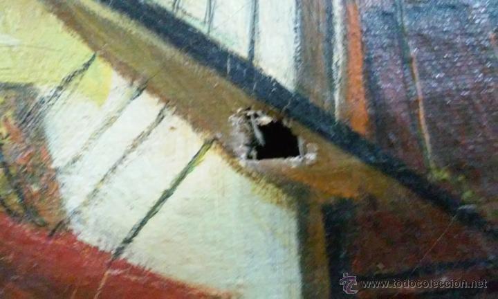 Arte: Magnífico oleo en lienzo. Batalla naval. Tiene una pequeña rotura. Firma M.A.C 126 x 70 cm - Foto 3 - 53753437