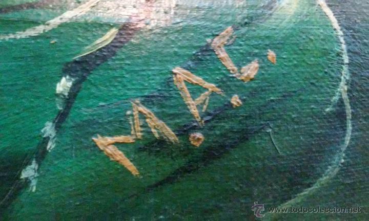 Arte: Magnífico oleo en lienzo. Batalla naval. Tiene una pequeña rotura. Firma M.A.C 126 x 70 cm - Foto 4 - 53753437
