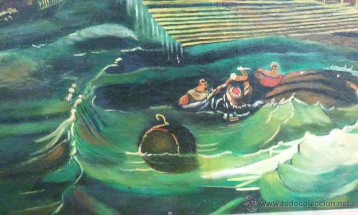 Arte: Magnífico oleo en lienzo. Batalla naval. Tiene una pequeña rotura. Firma M.A.C 126 x 70 cm - Foto 6 - 53753437