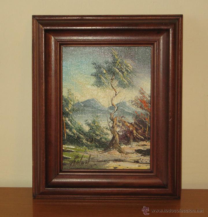 paisaje de montaña con árbol en primer plano.ol - Comprar Pintura al ...