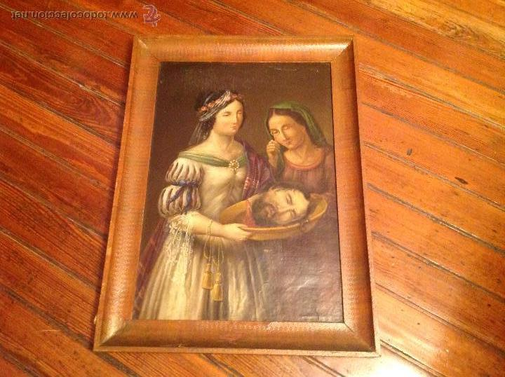 OLEO SOBRE CARTON.DOS PERSONAJES.CABEZA CORTADA SOBRE PLATO.SAN LUCÍA.S XVIII-XIX. (Arte - Pintura - Pintura al Óleo Antigua sin fecha definida)