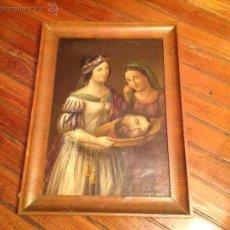 Arte: OLEO SOBRE CARTON.DOS PERSONAJES.CABEZA CORTADA SOBRE PLATO.SAN LUCÍA.S XVIII-XIX.. Lote 53821355