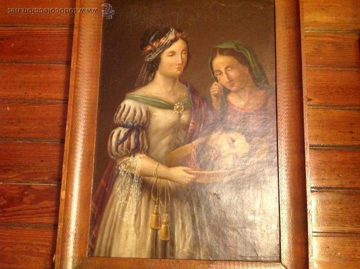 Arte: Oleo sobre carton.Dos personajes.Cabeza cortada sobre plato.San Lucía.S XVIII-XIX. - Foto 2 - 53821355