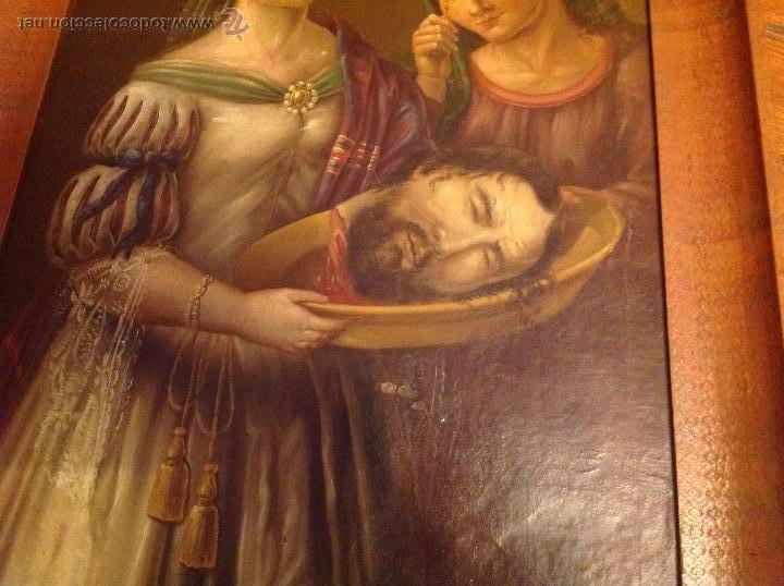 Arte: Oleo sobre carton.Dos personajes.Cabeza cortada sobre plato.San Lucía.S XVIII-XIX. - Foto 3 - 53821355