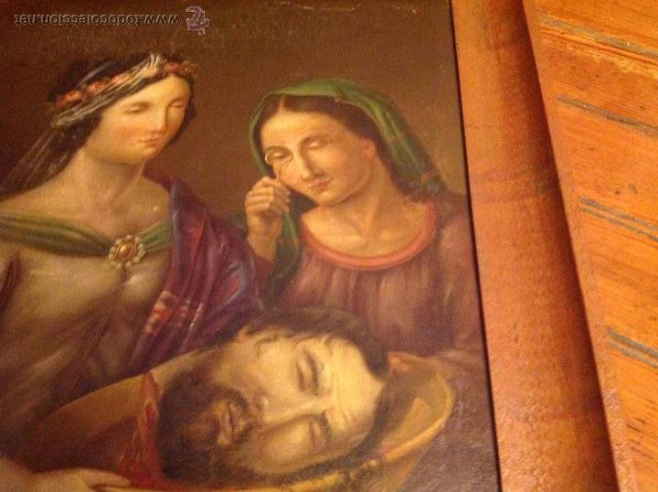 Arte: Oleo sobre carton.Dos personajes.Cabeza cortada sobre plato.San Lucía.S XVIII-XIX. - Foto 8 - 53821355