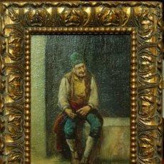 Arte: ANÓNIMO. ESC. ITALIANA. FIN S. XIX. TIPO POPULAR. ÓLEO SOBRE TABLA 23 X 15 CM. MARCO DORADO DE ÉPOCA. Lote 53832957