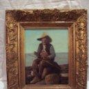 Arte: ADELARDO PARRILLA (CARTAGENA 1876-ALICANTE 1953): VIEJO PESCADOR, OLEO SOBRE LIENZO.. Lote 53895771
