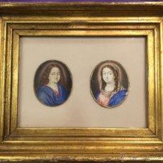 Arte: MINIATURAS. ESCUELA FRANCESA SIGLO XVII. VIRGEN Y JESUS. MAGNÍFICA FACTURA.. Lote 53886436