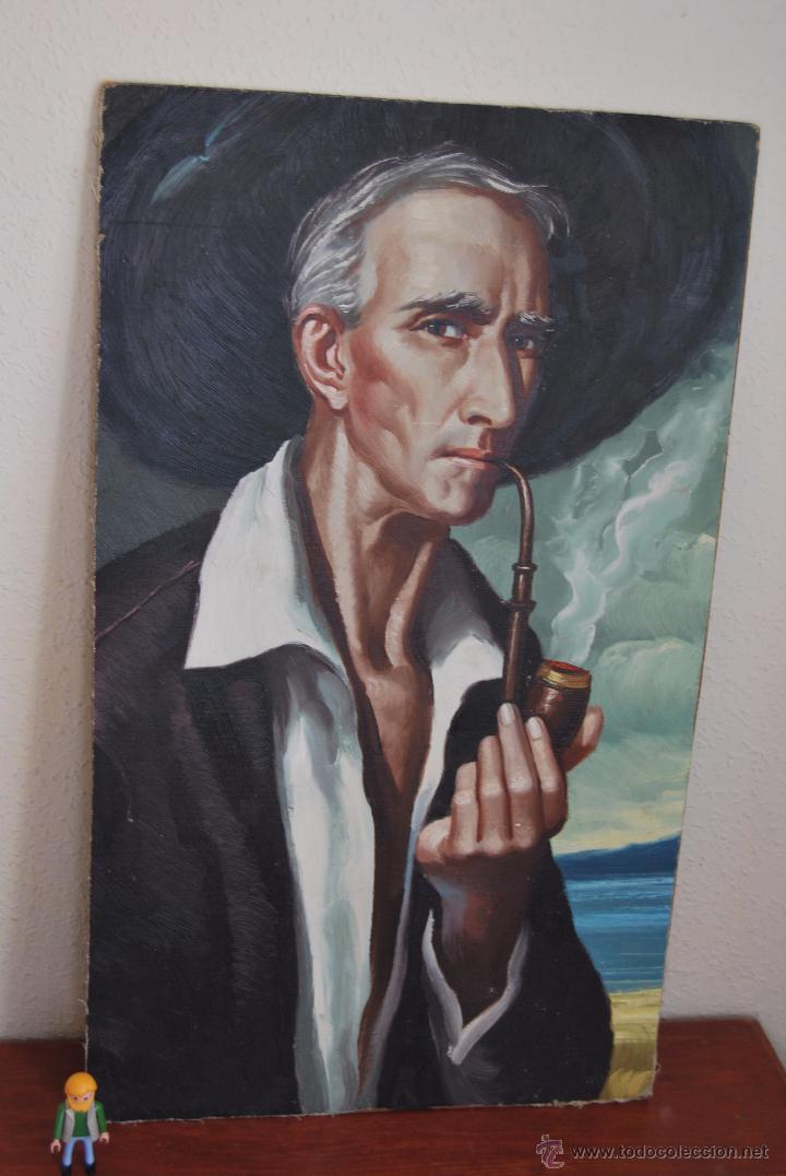 ÓLEO SOBRE LIENZO Y TABLA - PINTADO POR LAS DOS CARAS - RETRATO MASCULINO - PAISAJE RURAL (Arte - Pintura - Pintura al Óleo Contemporánea )