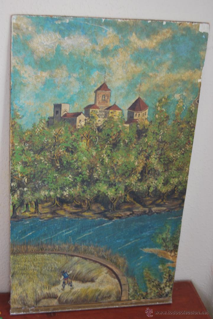 Arte: ÓLEO SOBRE LIENZO Y TABLA - PINTADO POR LAS DOS CARAS - RETRATO MASCULINO - PAISAJE RURAL - Foto 5 - 54047967