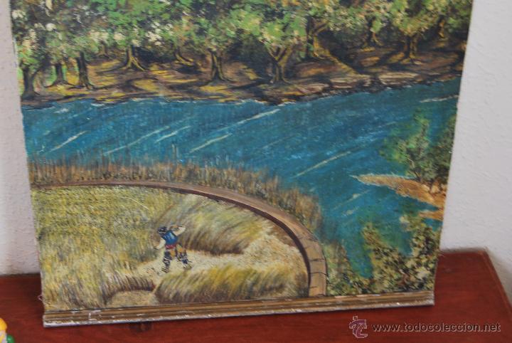 Arte: ÓLEO SOBRE LIENZO Y TABLA - PINTADO POR LAS DOS CARAS - RETRATO MASCULINO - PAISAJE RURAL - Foto 8 - 54047967