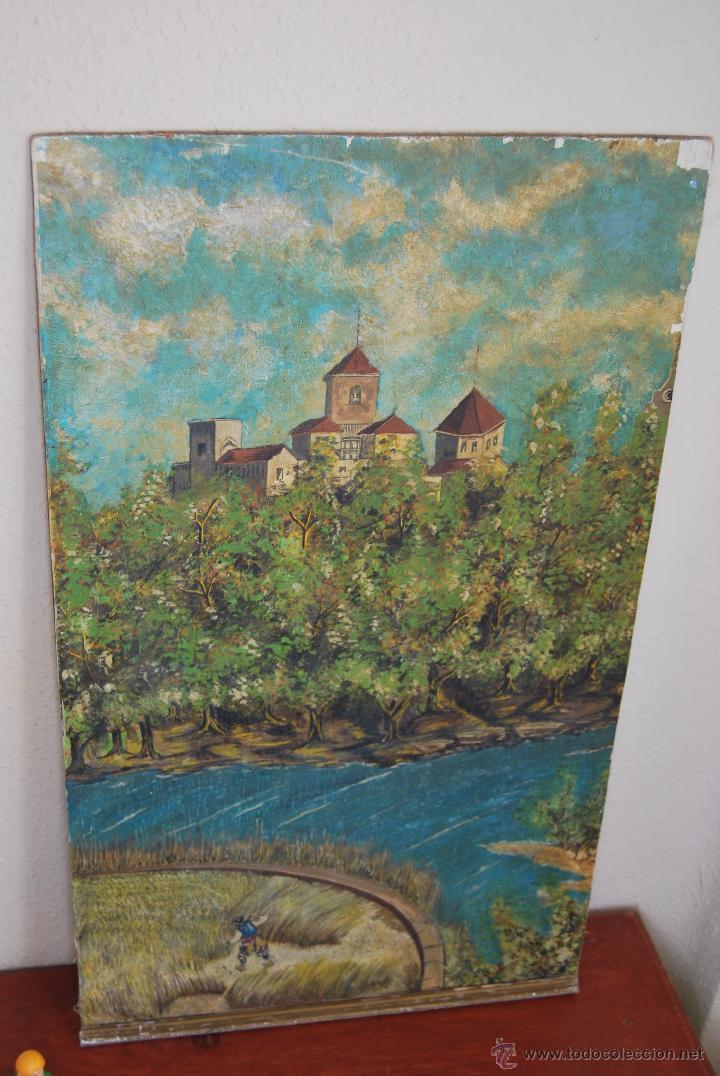 Arte: ÓLEO SOBRE LIENZO Y TABLA - PINTADO POR LAS DOS CARAS - RETRATO MASCULINO - PAISAJE RURAL - Foto 9 - 54047967
