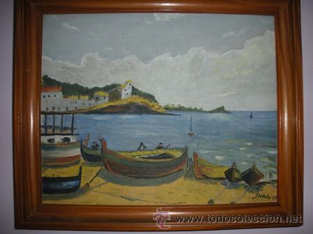 MAGNIFICA Y ANTIGUA PINTURA AL OLEO DE CADAQUES , PINTADA POR BALLESTOS 57 - (Arte - Pintura - Pintura al Óleo Moderna siglo XIX)