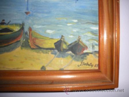 Arte: MAGNIFICA Y ANTIGUA PINTURA AL OLEO DE CADAQUES , PINTADA POR BALLESTOS 57 - - Foto 3 - 54055560
