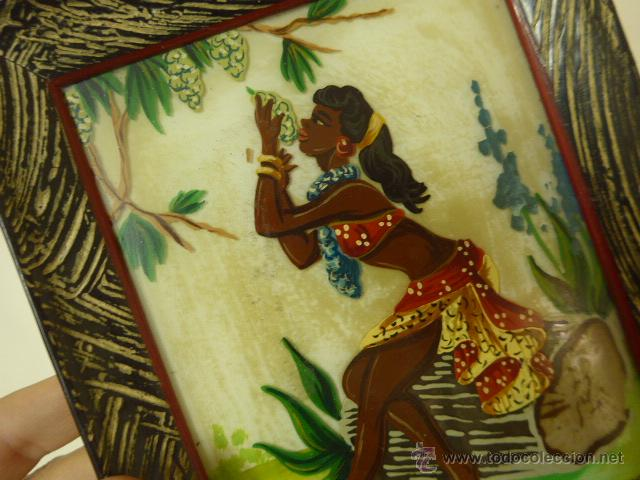 Arte: Antiguo cuadro pintado sobre cristal o vidrio, del caribe o parecido - Foto 2 - 54125531