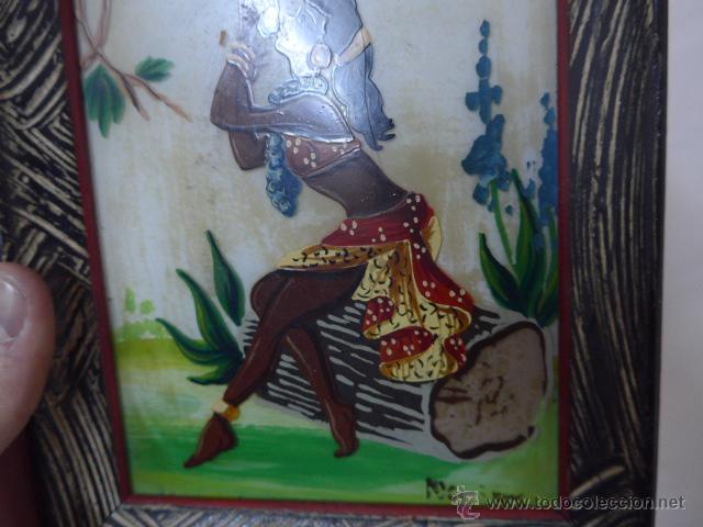 Arte: Antiguo cuadro pintado sobre cristal o vidrio, del caribe o parecido - Foto 5 - 54125531