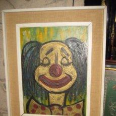 Arte: PAYASO AL OLEO ENMARCADO - FIRMADO JAVIER 1969 - MEDIDA 70 X 56 CM. INTERIOR 55 X 42 CM.. Lote 54139326
