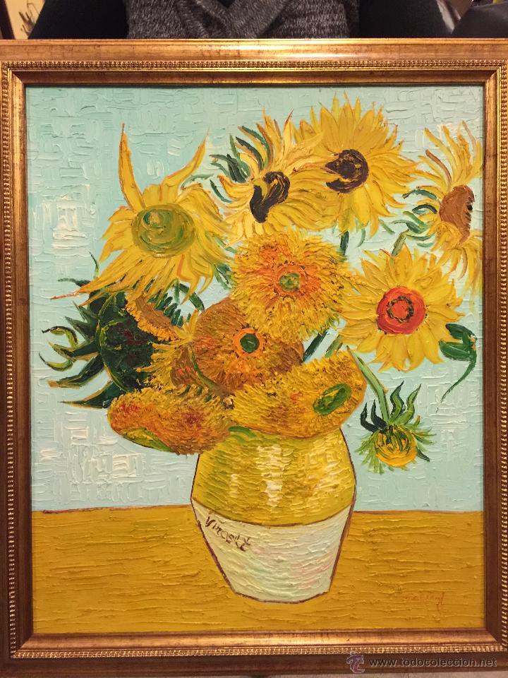 los girasoles de van gogh, copia en oleo buena - Comprar Pintura al ...