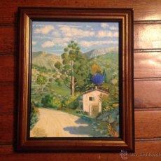 Arte: ALEO SOBRE CARTON ESCUELA MALLORQUINA PINOS Y CASA. Lote 54252260