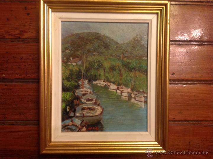 ALEO SOBRE LIENZO ESCUELA MALLORQUINA BARCAS (Arte - Pintura - Pintura al Óleo Moderna siglo XIX)
