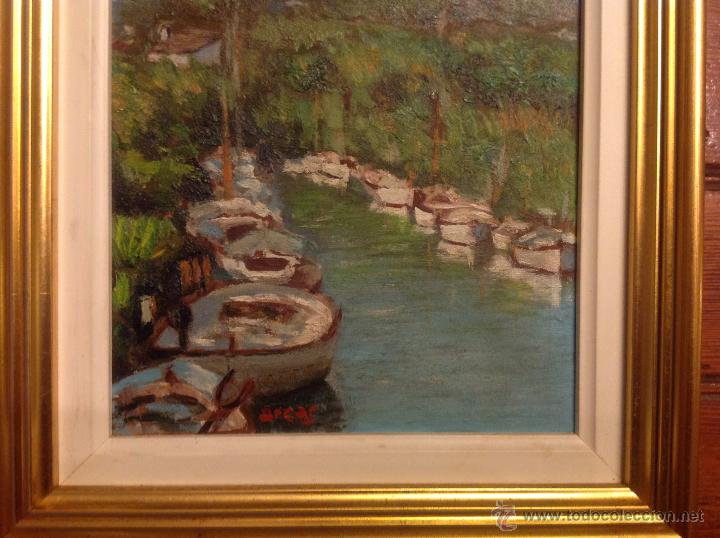 Arte: aleo sobre lienzo escuela mallorquina barcas - Foto 2 - 54252421