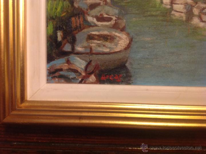 Arte: aleo sobre lienzo escuela mallorquina barcas - Foto 4 - 54252421