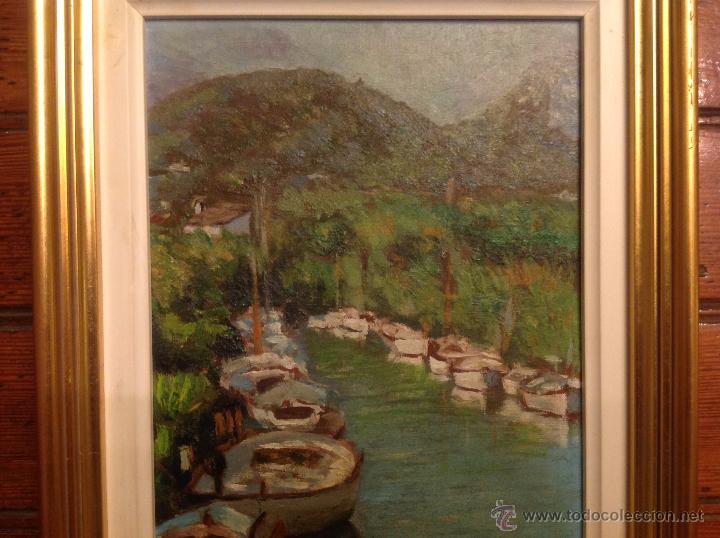 Arte: aleo sobre lienzo escuela mallorquina barcas - Foto 5 - 54252421