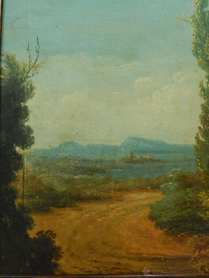 Arte: Paisaje mallorquín. Oleo sobre tabla. Siglo XVIII – XIX. Mallorca. - Foto 3 - 54395970
