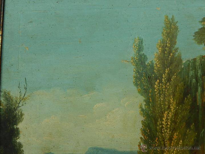 Arte: Paisaje mallorquín. Oleo sobre tabla. Siglo XVIII – XIX. Mallorca. - Foto 4 - 54395970