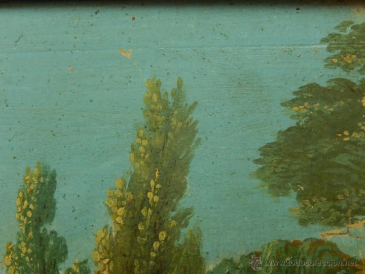 Arte: Paisaje mallorquín. Oleo sobre tabla. Siglo XVIII – XIX. Mallorca. - Foto 6 - 54395970