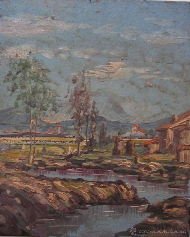 PAISAJE OLEO SOBRE CARTÓN. FIRMADO ILEGIBLE 18 X 15 CM (Arte - Pintura - Pintura al Óleo Moderna siglo XIX)