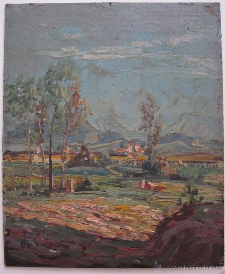 PAISAJE PEQUEÑO FORMATO FIRMADO ILEGIBLE OLEO SOBRE TABLA. 18 X 15 CM (Arte - Pintura - Pintura al Óleo Moderna siglo XIX)