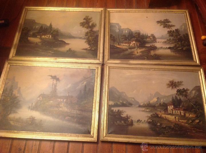 CONJUNTO DE CUATRO CUADROS OLEO SOBRE LIENZO PAISAJES (Arte - Pintura - Pintura al Óleo Antigua sin fecha definida)