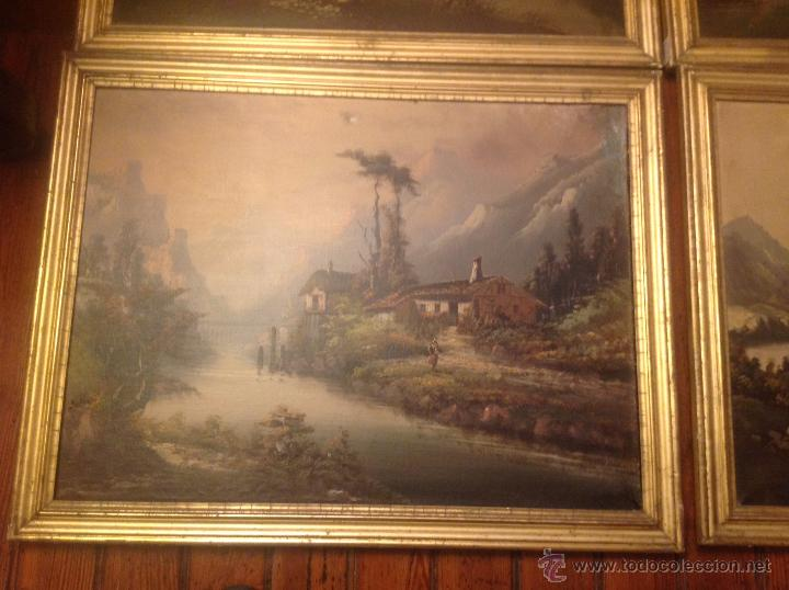 Arte: conjunto de cuatro cuadros oleo sobre lienzo paisajes - Foto 20 - 54518808