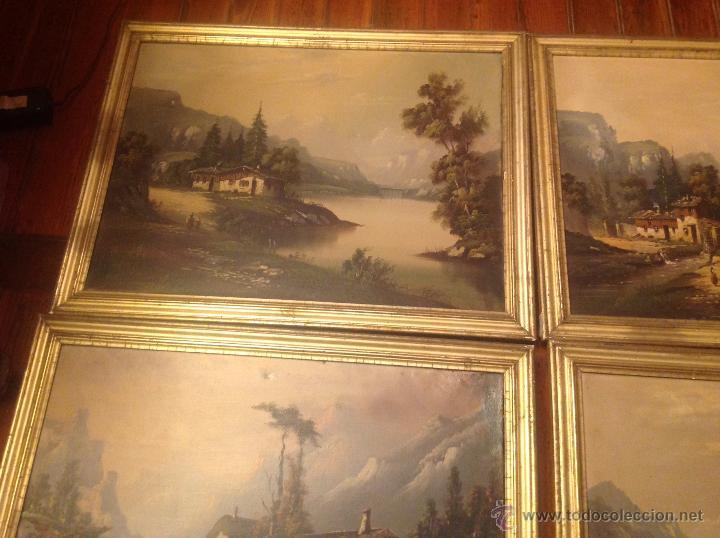 Arte: conjunto de cuatro cuadros oleo sobre lienzo paisajes - Foto 25 - 54518808
