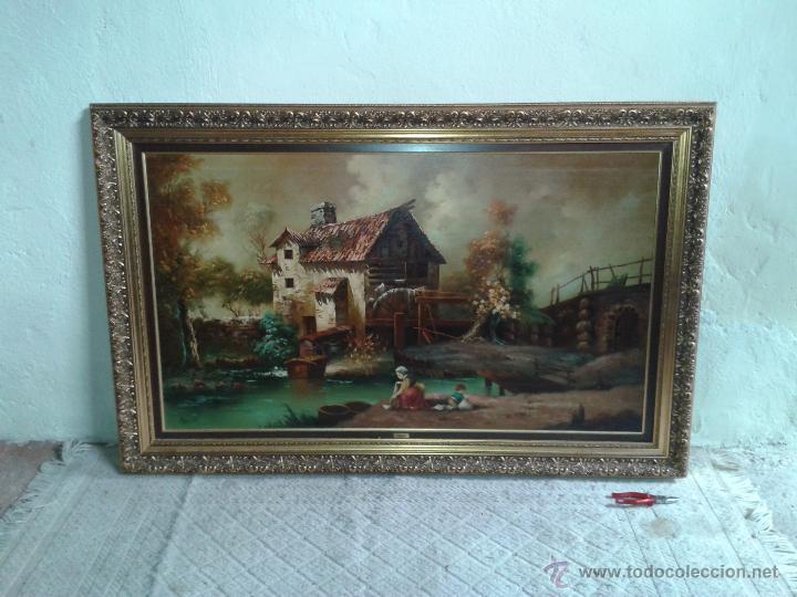 Arte: cuadro gran tamaño pintura al oleo sobre lienzo motivo campestre firmado por el autor. - Foto 2 - 54590298