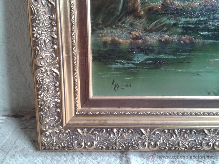 Arte: cuadro gran tamaño pintura al oleo sobre lienzo motivo campestre firmado por el autor. - Foto 3 - 54590298