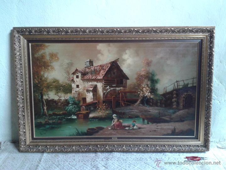 Arte: cuadro gran tamaño pintura al oleo sobre lienzo motivo campestre firmado por el autor. - Foto 5 - 54590298