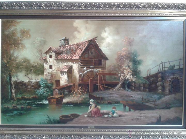 Arte: cuadro gran tamaño pintura al oleo sobre lienzo motivo campestre firmado por el autor. - Foto 6 - 54590298