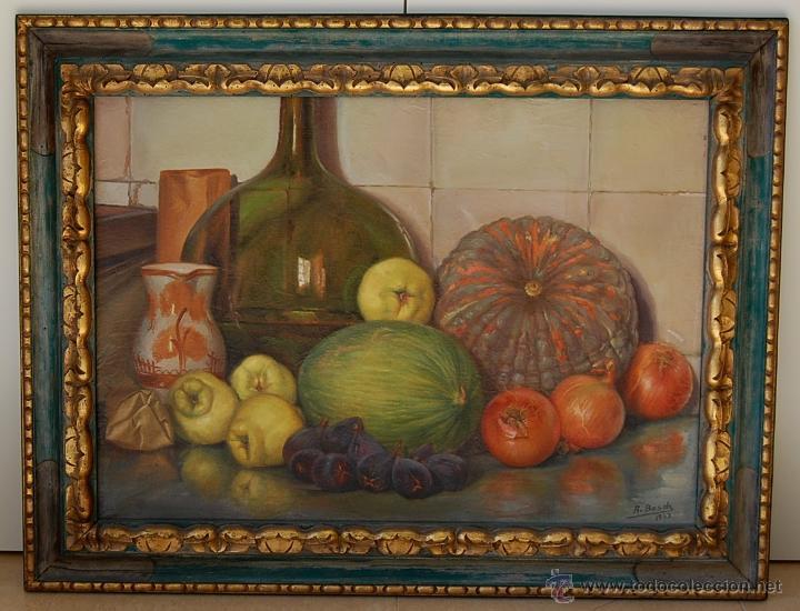 BODEGÓN CON MARCO ORIGINAL EN MADERA TALLADA - FIRMADO: A.BOSCH 1943 (Arte - Pintura - Pintura al Óleo Moderna siglo XIX)