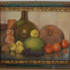 Arte: BODEGÓN CON MARCO ORIGINAL EN MADERA TALLADA - FIRMADO: A.BOSCH 1943. Lote 51007002