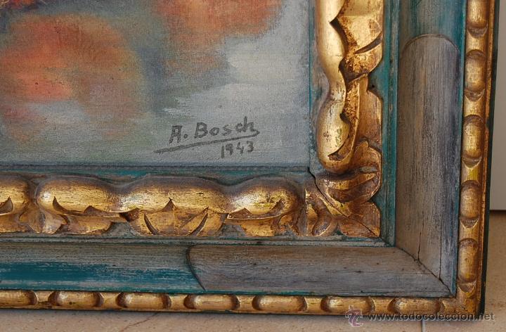 Arte: BODEGÓN CON MARCO ORIGINAL EN MADERA TALLADA - Firmado: A.Bosch 1943 - Foto 3 - 51007002