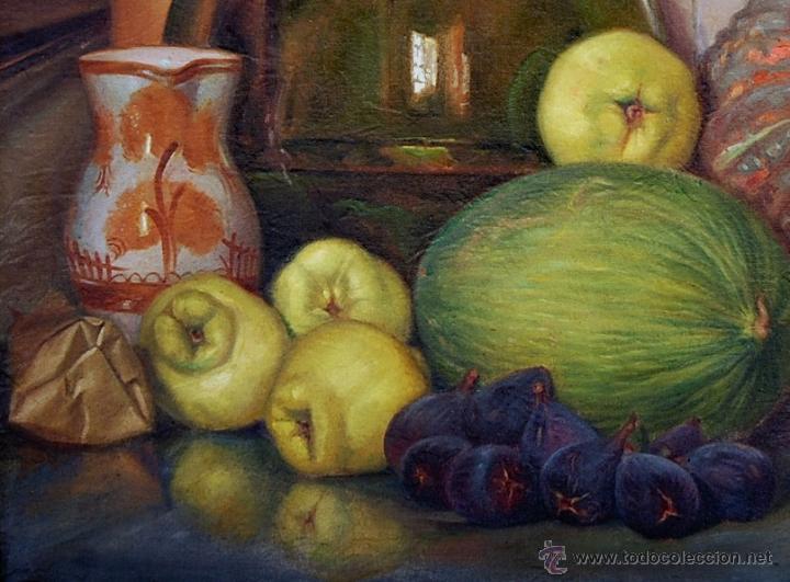 Arte: BODEGÓN CON MARCO ORIGINAL EN MADERA TALLADA - Firmado: A.Bosch 1943 - Foto 4 - 51007002