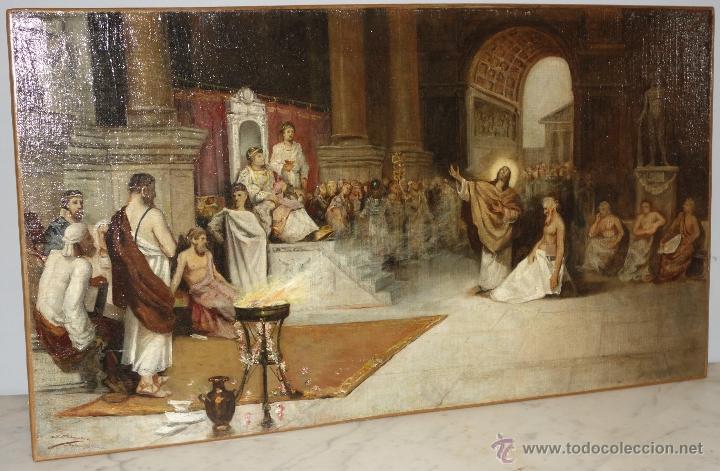 Arte: PEDRAZA OSTOS, JOSE (SEVILLA 1880-1947): ESCENA DE CRISTO ANTE PILATOS - Foto 2 - 54657513