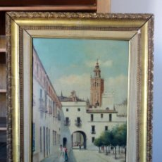 Arte: ROGELIO MIRANDA ( SEVILLA - SIGLO XIX ) - PATIO DE BANDERAS. Lote 37883479