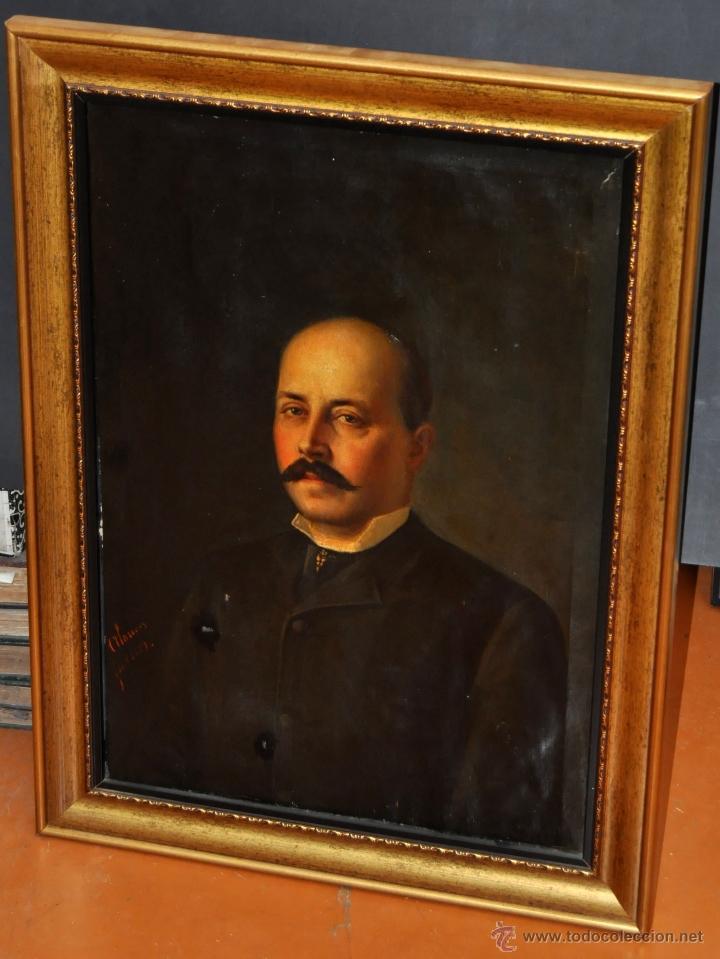 FELIX ALARCON BRENES (SEVILLA, CIRCA, 1860 - ACTIVO EN PARÍS EN 1900) OLEO TELA. RETRATO CABALLERO (Arte - Pintura - Pintura al Óleo Moderna siglo XIX)