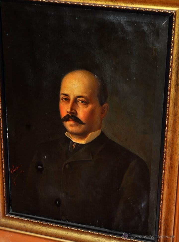 Arte: FELIX ALARCON BRENES (Sevilla, Circa, 1860 - Activo en París en 1900) OLEO TELA. RETRATO CABALLERO - Foto 2 - 54760570