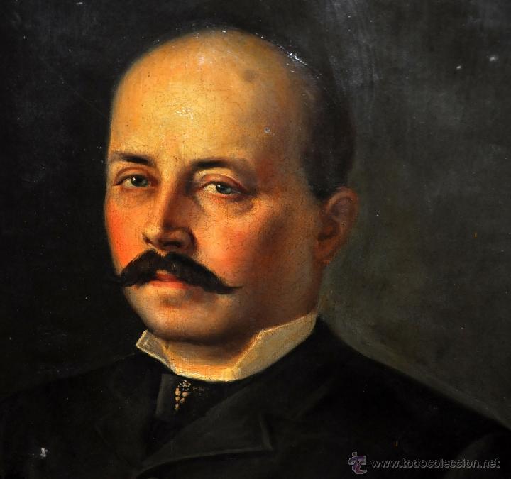 Arte: FELIX ALARCON BRENES (Sevilla, Circa, 1860 - Activo en París en 1900) OLEO TELA. RETRATO CABALLERO - Foto 3 - 54760570