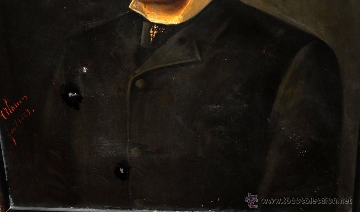 Arte: FELIX ALARCON BRENES (Sevilla, Circa, 1860 - Activo en París en 1900) OLEO TELA. RETRATO CABALLERO - Foto 4 - 54760570