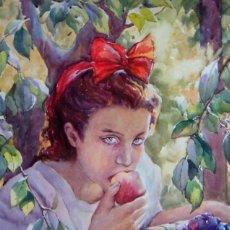 Arte: NIÑA CON LAZO ROJO COMIENDO MELOCOTONES - 1961. Lote 26453248
